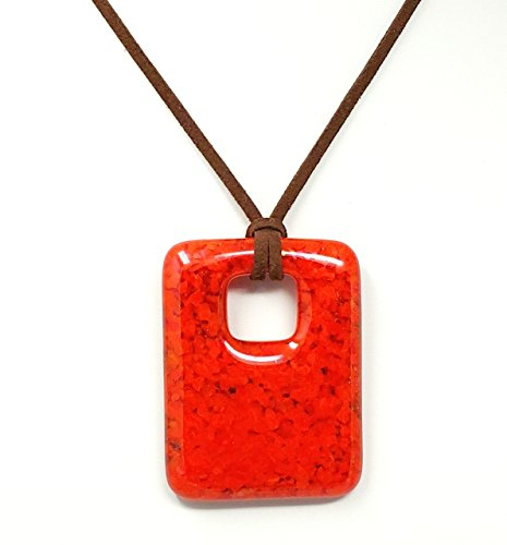 Fused Stained Glass Pendant Necklace - Orange Speckled ()