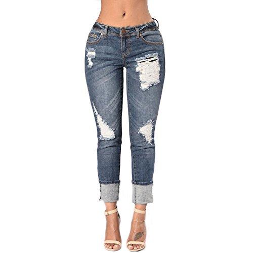 CHIYEEE Femme Rtro Jeans Dchirs Trous en Denim Slim Crayon Pantalon Bleu Fonc