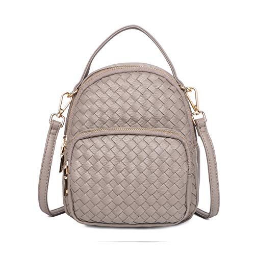 - Zg Braided Vegan Leather Crossbody Purse For Women, Multi-Functional As Backpack