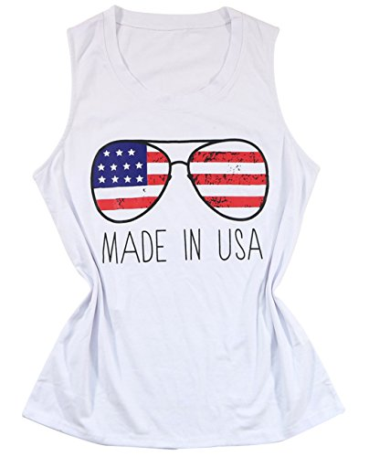 American Made Women Clothing - FAYALEQ Women's Patriotic American Flag Glasses Print Tank Top Sleeveless Blouse T-Shirt Size L (White)