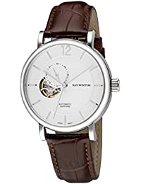 Men's WI0604 Automatic Analog Skeleton White Dial Croc-Embossed Genuine Brown Leather Watch
