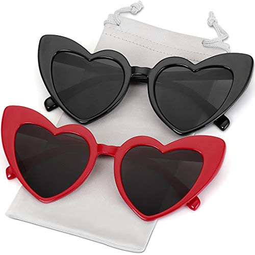 (Heart Shaped Sunglasses for Women Girls Ladies Vintage 2 Pack Sun Glasses Shades Black +Red Frame)