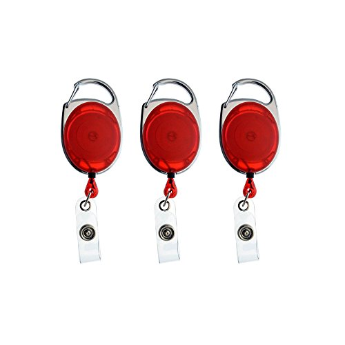 (Retractable Carabiner Badge Reels with Key Ring and Badge Strap for ID Badge Holders,Key Cards(red) (3 PCs))