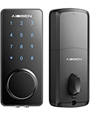 Aibocn Smart Lock, Touchscreen Keypad Door Lock with Electronic Deadbolt, Keyless Entry Door Lock with Bluetooth, Front Door Lock Works with APP Control, Voice, eKey and Code, Auto-Lock for Home Apartment Hotel