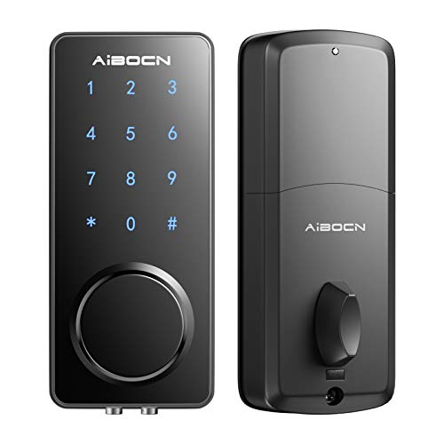 Aibocn Smart Lock Electronic Keypad Deadbolt Lock, Keyless Entry Door Lock, WiFi Bluetooth Smartphone, Code and Key Combination Lock, Auto Lock & Alarm, DIY Easy Installation, Anti-Theft, Zinc Alloy