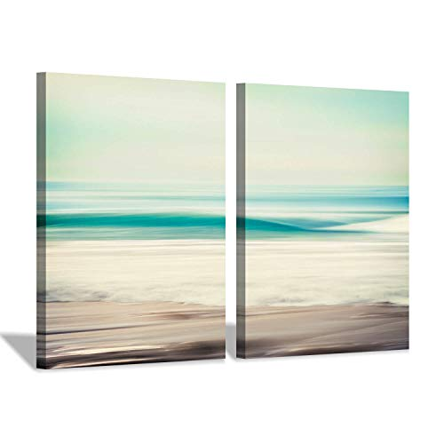(Abstract Scenic Beach Wall Art: Seascape Artwork Painting Print on Canvas for Wall Decor(18''x24''x2pcs))