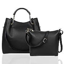EGOGO Women Tote Bag 2 Pieces Shoulder Bag Pu Leather Handbags Cross Body Bucket Bag Set for Women E535-1(Black)