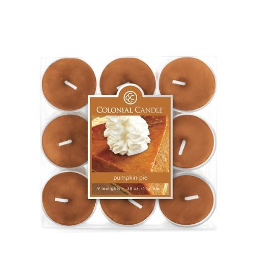 Colonial Candle Pumpkin Pie Tealight Candle, Pack of 9