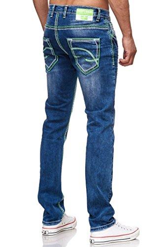 R-Neal NEON-NAHT Kontrast Naht Jeans Hose Used Blau Denim 7444-2 GRÜN