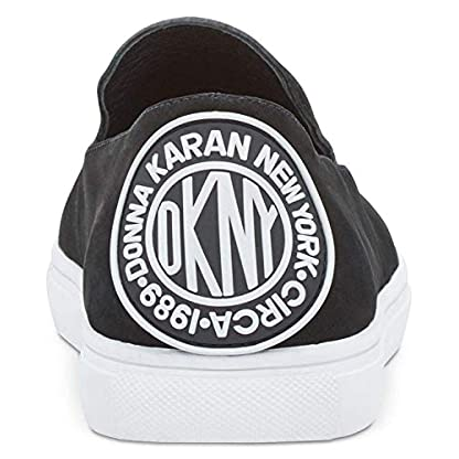DKNY Womens Jilian Leather Low Top Slip On Fashion, Black Nubuck, Size 5.0 US/US 3