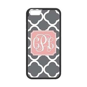 Custom White Grey Quatrefoil Monogram Pink Plastic Case For IPhone 6