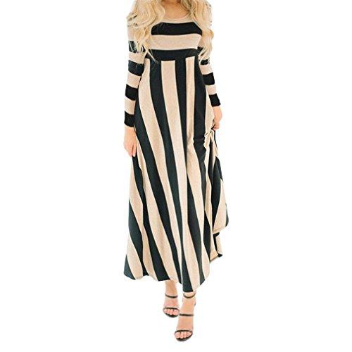 GREFER Hot Sale Women Long Sleeve Striped Maxi Dress Evening Party Long  Dress 0cd6dd37c