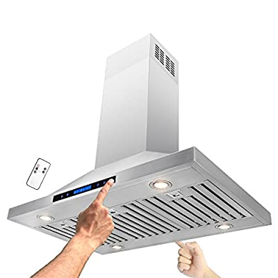 """AKDY 36"""" Island Mount Stainless Steel Both Side Range Hood W/Baffle Filter Remote Control Kitchen Stove Vent"""