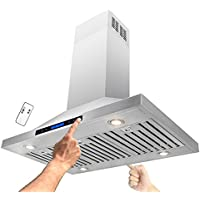 AKDY® 36 Stainless Steel Island Mount Dual LED Touch Control Panel Kitchen Range Hood w/ Remote