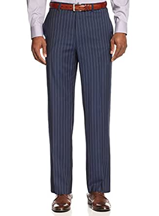Sean John Mens Pinstripe Flat Front Dress Pants Blue 36/30