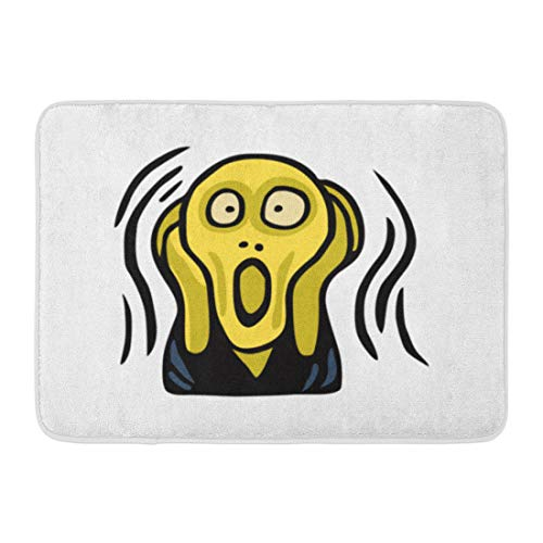Emvency Doormats Bath Rugs Outdoor/Indoor Door Mat Scream Clipart of The Screaming Head Munch Absurd Abstract Energy Fear Bathroom Decor Rug 16