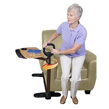 Image of Able Life Able Tray Table, Adjustable Bamboo Swivel TV and Laptop Table with Ergonomic Stand Assist Safety Handle, Independent Living Aid Health and Household