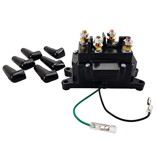 MaySpare 250A Winch Solenoid Relay Contactor 12V Winch Rocker Thumb Switch  with 6 Protecting caps for ATV UTV 2000-5000lbs Winch