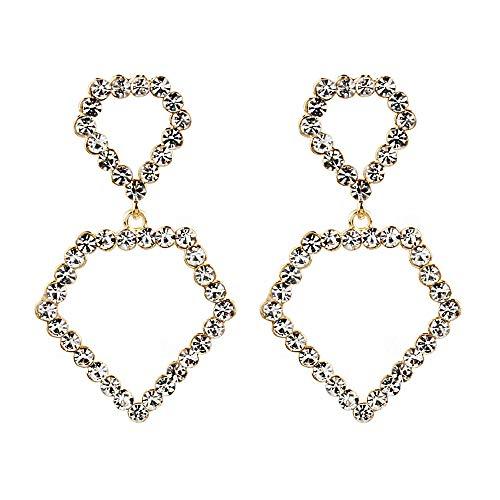 (Heart Crystal Drop Earrings Hollow Dangle Full Rhinestone Silver Plated Chic Elegant Birthday Gift (Gold))