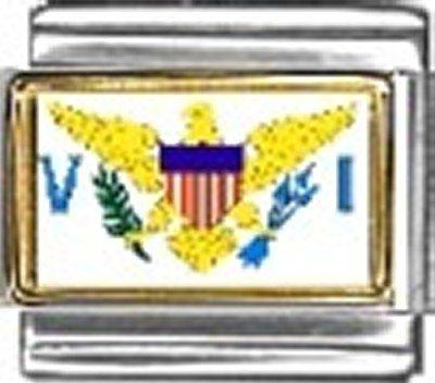 Virgin Islands Photo Flag Italian Charm Bracelet Jewelry Link