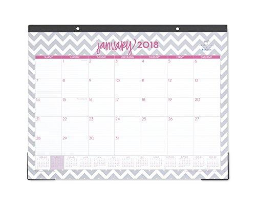"Blue Sky 2018 Monthly Desk Pad Calendar, 22"" x 17"", Gray Ollie"