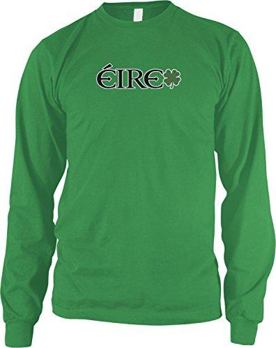 Claddagh Irish Pub - Amdesco Men's EIRE, Ireland Irish Pride, St Patrick's Day Long Sleeve Shirt, Kelly Green 2XL