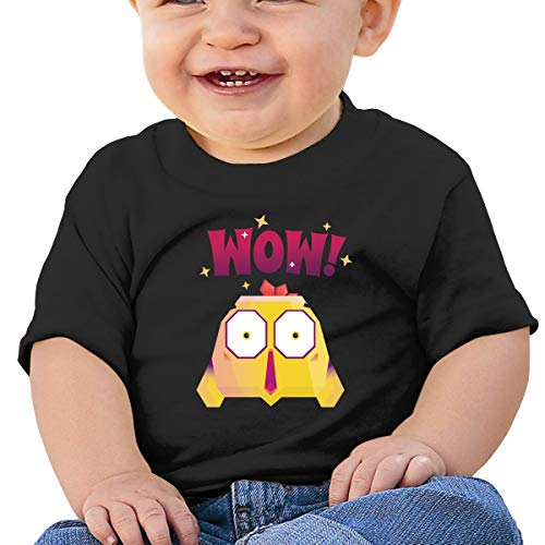 6-24M Baby Boys' Toddler/Infant Cartoon Chicken Says Wow Short Sleeve Shirt