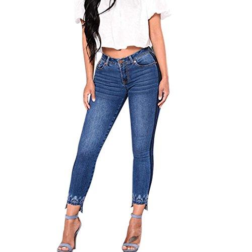 Collants Denim Taille Leggings Femmes Vintage Pants Rayures Jeans Bleu Skinny Pantalon 2 Haute Rtro Slim Crayon Stretch Broderie Fit SANFASHION Rx84q5ISqw