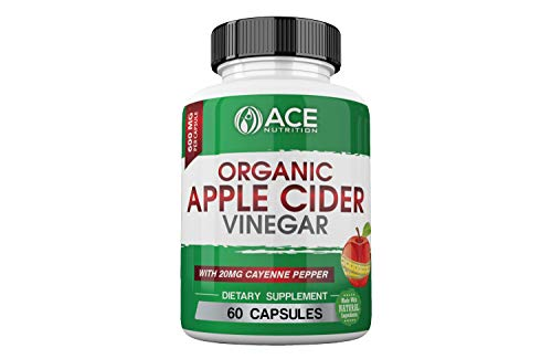ACE Nutrition Organic Apple Cider Vinegar Supplement (600mg) Natural Detox and Weight Loss Supplement | Cayenne Pepper Metabolism Booster | Raw, Pure, Non-GMO, Gluten Free For Sale