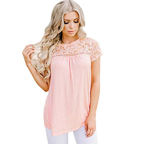 (TOTOD Tops for Women Summer Lace Patchwork O-Neck Tank Top Blouse Elegant Soild Color Short Sleeve Basic T-Shirt(Pink,S))