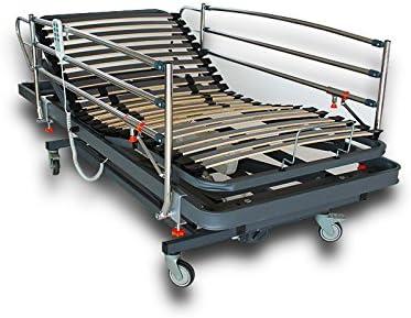 Ventadecolchones - Camas Articuladas Geriátrica de Hospital con Carro Elevador Medida 90 x 190 cm con Juego de barandillas