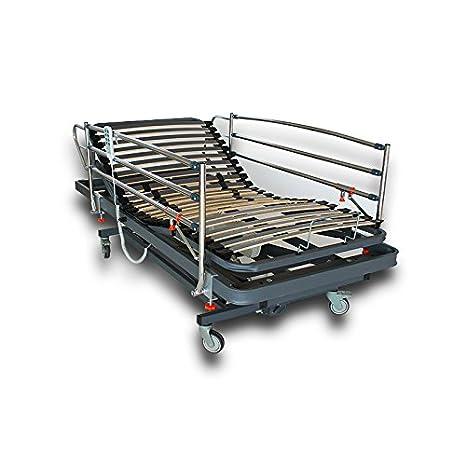 VentadeColchones - Camas Articuladas Geriátrica de Hospital con Carro Elevador Medida 105 x 190 cm con Juego de barandillas: Amazon.es: Hogar