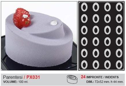 Pavoflex Flexible non-stick mold, PARENTESI, 72 x 52 mm. - Height 44 mm., 24 cav. Overall size: 600 x 400mm