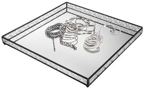 Glass Tray Mirrored Bottom Decorative Bathroom Vanity Makeup Organizer Jewelry Display Perfume Holder Dresser D cor Candle Tray 12 x 12 Square J Devlin Tra 116