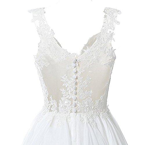 Bowith V Robes De Mariée Cou Illusion Mousseline Plage Bretelles Robe De Mariée Ivoire