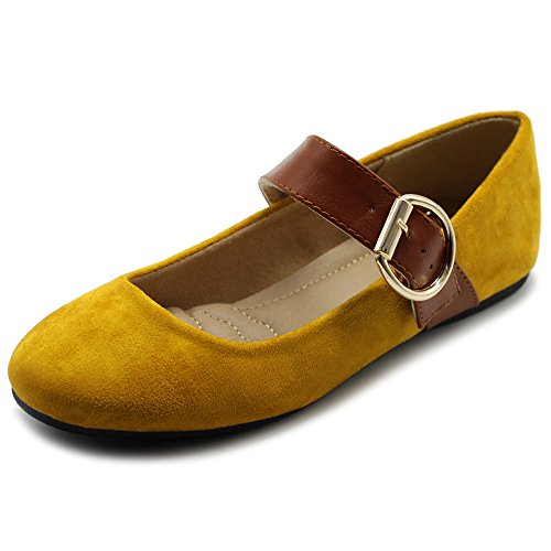 Ollio Women's Shoes Faux Suede Mary Jane Belt Slip On Comfort Light Ballet Flats ZY00F57 (6 B(M) US, Mustard)
