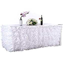 "Adeeing Handmade Elegant Wave Accordion Pleat Polyester Tulle Table Skirt Cover Tablecloth For Party,Wedding,Home Decoration,106"" Long by 31"", White"