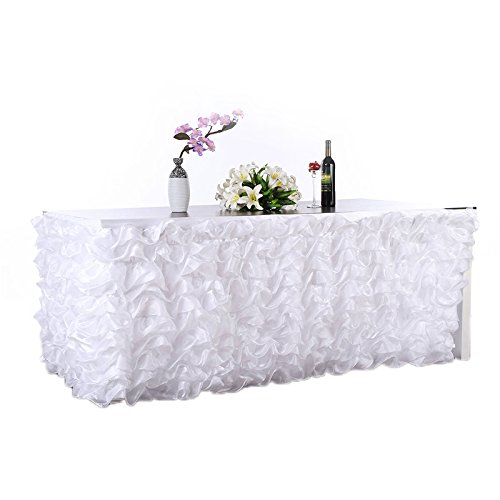 Adeeing Handmade Elegant Wave Accordion Pleat Polyester Tulle Table Skirt Cover Tablecloth For Party,Wedding,Home Decoration,106 Long by 31 High Whi…