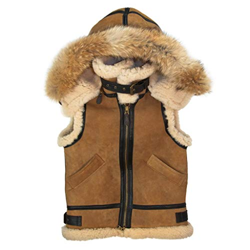 B3 Bomber Aviator Flying Pilot Removable Hood Fur Shearling Sheepskin Leather Vest Jacket