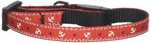 Mirage Pet Products Anchors Nylon Ribbon Collar for Cats, Red