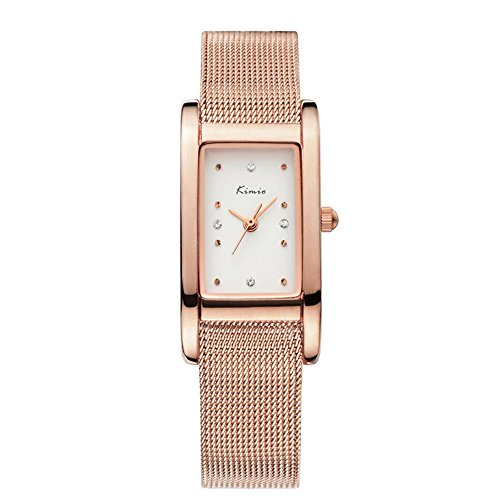 Fashion Casual Rhinestone Square Dial Mesh Shaped Stainless Steel Band Women Quartz Watch, Rose Gold (Relic Steel Mesh Watch)