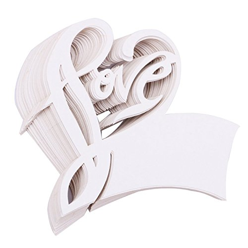 TOOGOO(R) Heart Shape Table Paper Escort Name Cards, 100PCs Wedding Place Memo Note Card Wine Glass Seat Card Party Supplies ''Love'' Heart