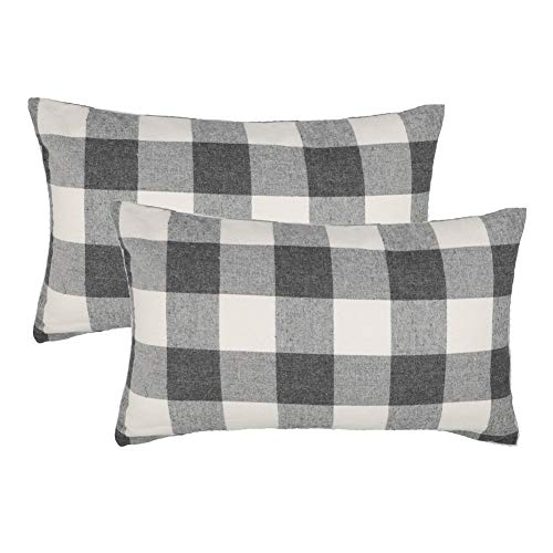 ey White Buffalo Check Plaids Throw Pillow Case Cushion Cover Holiday Decor Cotton Polyester for Sofa Set of 2 ()