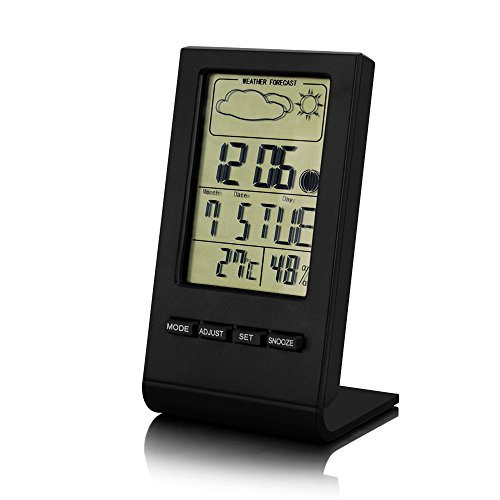 Price comparison product image LinGear Thermo-hygrometer LCD Temperature Moisture Meter with Data Storage Function, Multi-functional Thermohygrometer Indoor Humidity Monitor Digital Hygrometer with Alarm Clock