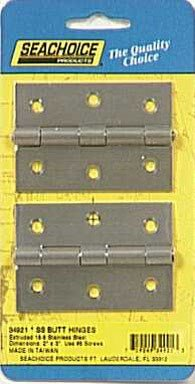 Hinges Extruded Butt - Seachoice 34921 Extruded Butt Hinges Steel 2 in. X 3 in