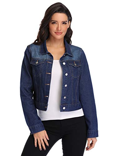 Denim Jacket for Women Crop Jean Jacket Button Down Classic Dark Blue Jean Jackets XS - XL (Deep Blue, Medium (US 8-10))