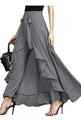Pantskirt Lungo Culotte Palazzo Decorativo Vita Elegante Donna Grey Alto Nodo Jumojufol xR7zpH