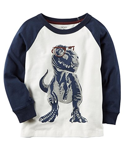 Carter's Little Boys History Dino Cotton Raglan Sleeve Tee (3T, Navy) Carters Long Sleeve Raglan Tee
