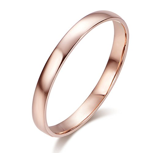 10k Solid Gold 2mm Light Comfort Fit Classic Plain Wedding Band (rose-gold, 5.5)