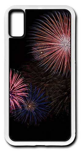 iPhone Xs Case Fire Works Fireworks July 4th Fourth Celebration Independence Day Customizable by TYD Designs in White Plastic